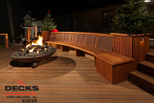 Large Raised, award winning, Deck with built-in seating, lighting and a large fire pit