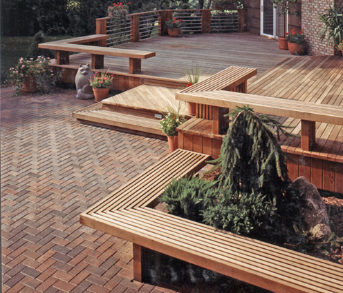 deck and patio with built in benches - Patio Decks